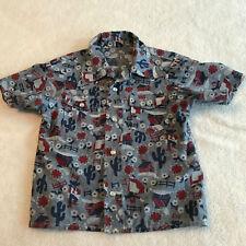 VINTAGE 50's Childrens Cowboy Print Pearl Snap Front Short Sleeve Shirt