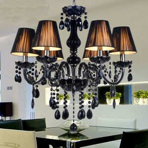 Black Crystal Glass Candle Lights 6/8 Heads Dinning Ceiling Pendant Chandeliers
