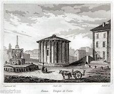 Roma: Tempio di Vesta. Audot. Acciaio. Stampa Antica + Passepartout. 1836