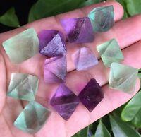 76g 12PCS Natural Purple/Green Fluorite Octahedral Quartz Crystal ic0001