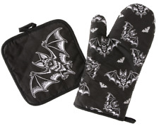 Sourpuss Batt Attack Halloween Gothic Horror Spooky Punk Oven Mitt Set SPHW258