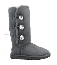 UGG Bailey Button Bling Triplet Charcoal Grey Fur Boots Womens Size 9 *NIB*