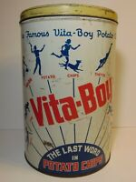 WW2 Vintage 1941 VITA BOY POTATO CHIPS GRAPHIC TIN CAN TENNIS COOKING SKIING DOG