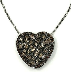 "Purple Crystal Heart Pendant Necklace Hematite Tone 16"" 18"" Adjustable GIFT"