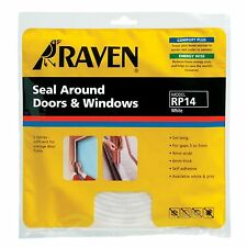 2 X Raven SEAL AROUND DOOR & WINDOW Self Adhesive Foam Covers 3-5mm Gap 5m WHITE