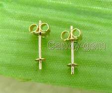 1 Pair 0.4*12mm 14K Solid Gold Earring Finding Back Stud  for Jewelry Making 189
