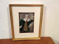 Antique 19th Century Print Depicting Man Leaning on Globe w/ Applied Clothing
