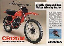 1976 HONDA CR125 M2 2 Page Motorcycle Brochure NOS