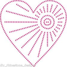 "Iron-On Rhinestone Design 4""  Offset Heart Valentine Transfer 4pc Any Color"