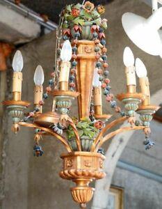 Unusual 1960 stunning Italian Wood / metal polychrome flowers chandelier