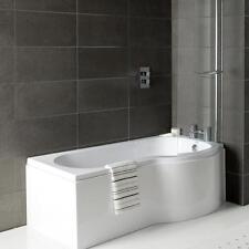 Right Hand P Shaped Shower Bath 1500mm Panel Glass Shower Screen Towel Rail