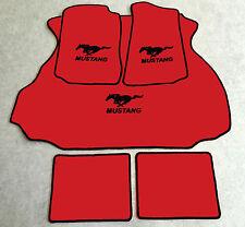 Autoteppich Fußmatten Kofferraum Set für Ford Mustang Coupe rot schwarz 1994-04