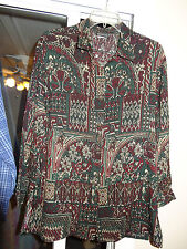"BON WORTH ""Burgundy,Black, & Dark Green Pattern Blouse"" Button Front w/Collar SP"