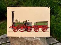 seltenes altes Bild Siebdruck Eisenbahn Dampflok Adler Kunststoff 30x21 cm