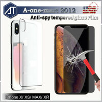 Anti-Spy Privacy Tempered Glass Screen Protector Film fr iPhone 11/Pro/Max/Xs/X