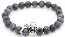 Handmade Semi Precious Stone Bracelet Labradorite Beads Heart Christmas Gift Bag