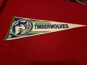 VINTAGE 1990's Minnesota Timberwolves First Logo Pennant, SUPER COOL!!