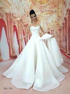 White Handmade Evening Dress Outfit Gown For Barbie Silkstone Fashion Royalty FR