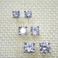 925 Sterling Silver PL Cubic Zirconia CZ 3 Pair Set Stud Earrings 4mm 5mm 6mm UK