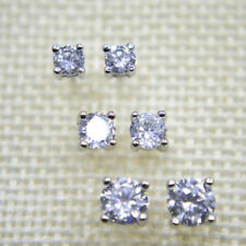 925 Sterling Silver PL Cubic Zirconia CZ 3 Pair Set Stud Earrings 4mm 5mm 6mm