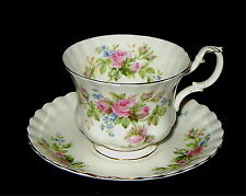 Royal Albert Moss Rose Footed Cup and Saucer. Excellent Condition. Lot E