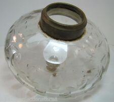 Antique Glass Oil Lamp Insert Big Peg Light Part brass top fitting candle lite