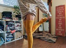 Yellow Ribbed Leg Warmer, Long Leg Warmer, Over Knee Sock, Winter Leg Warmer
