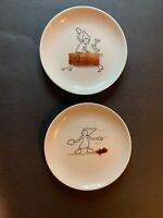Crate & Barrel CB2 Sammy Plates Cork Reindeer & Tooth Pick Snowboard 5.5""