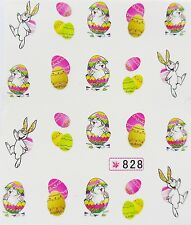 "Glittery 3D Nail Art Sticker ""Easter Bunny Gold Pink Egg"" Water Decals *NEW* 828"