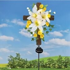 Solar Lighted Easter Lily Remembrance Cross Cemetery Memorial Garden Stake