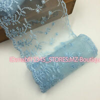 F128F Floral Tulle Lace Trim Ribbon Flower Embroidery Wedding Trim Sewing crafts