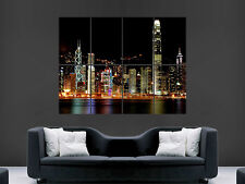 HONG KONG POSTER  SKYLINE CITYSCAPE GIANT PRINT  PICTURE ART IMAGE
