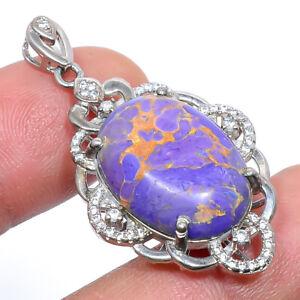"Purple Copper Turquoise & White Topaz 925 Sterling Silver Pendant 1.64"" M1592"
