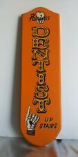 """""""PAINLESS DENTIST UPSTAIRS"""" HAND PAINTED WOOD, ORANGE OLD STYLE ADVERTISING SIGN"""