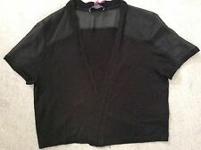 M&S PER UNA SHORT BLACK CARDI WITH SHEER TOP SHORT SLEEVES & BACK -SIZE 8 BNWT