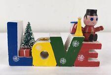 Vtg 1960's Hippie LOVE Christmas Candleholder Wood w Flocked Bottlebrush Tree