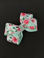 Dog Floral Hair Bow  Top Knot Clip Pet  Pink Rhinestone  Handmade UK