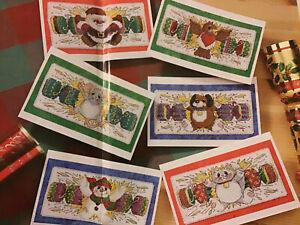 Reno Robin Baubles Medias Navidad Tabla De Punto De Cruz X3
