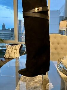 AUTHENTIC GIVENCHY BLACK SUEDE SHARK LOCK KNEE HIGH BOOTS, SIZE 37