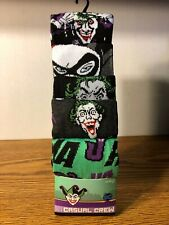Joker 5 Pair CREW SOCKS SIZE 8-12 DC COMICS BATMAN MOVIE BRAND NEW HAHA 2019