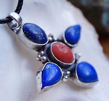 Handarbeit Anhänger Dick Kette Silber Lapis Lazuli Koralle Rot Blau Gold Pyrit
