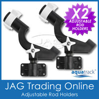 2 x AQUATRACK STAR ADJUSTABLE ROD HOLDERS - Side/Deck/Rail Mount - Fishing Boat