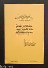 VINTAGE BOOKLET / ALIMENTACION DE NOVILLAS HOLSTEIN / PUERTO RICO / 1979