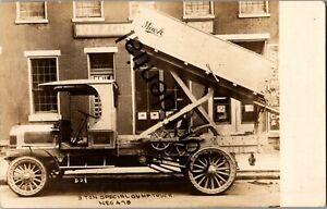 Real Photo 1920s Mack Dump Truck Ad Allentown PA NYC NY New York RP RPPC D187