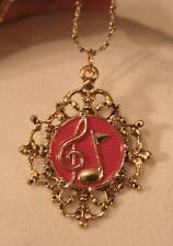 Filigree Fleur de Lis Rim Red Enameled Music Notes Goldtone Pendant Necklace