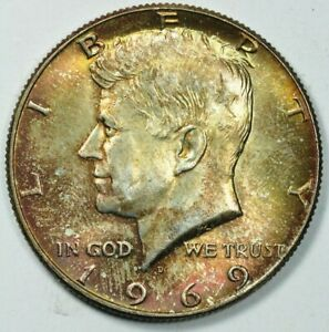 1969 D KENNEDY HALF DOLLAR UNCIRCULATED 50c Mint State TONER TONED