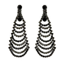 CLIP ON EARRINGS - gunmetal grey earring with black and grey crystals - Bruna