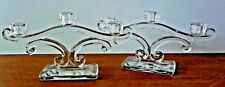 PAIR OF HEAVY GLASS 3 ARM CANDLESTICK  CANDLE HOLDER   LEAD CRYSTAL ?