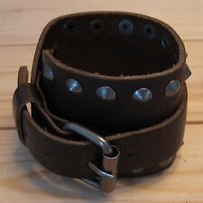 Gothic punk rock motor biker leather belt wristband bracelet (choice designs)