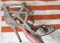 NEW SAM EDELMAN Size 10 Nude Suede Snake Print High Heel
